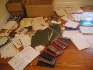 Original find of boxes of books and journals that came to be known as the transcendence diaries and attributed to Ed Hale